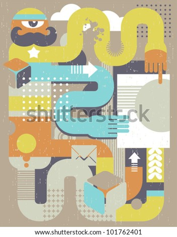Abstract retro man with paper document. Vector illustration in retro style.
