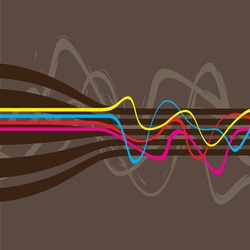 Abstract retro styled layout with wavy lines in a cmyk color scheme.  This vector image is fully editable.