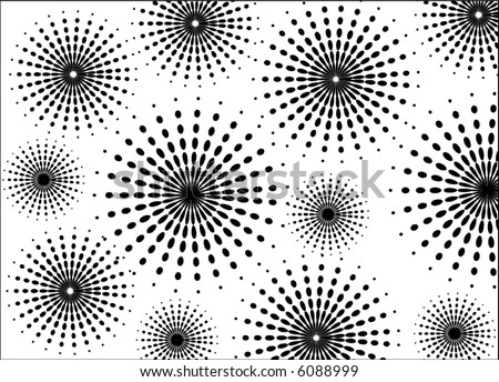 abstract retro vector halftone dots and flowers pattern