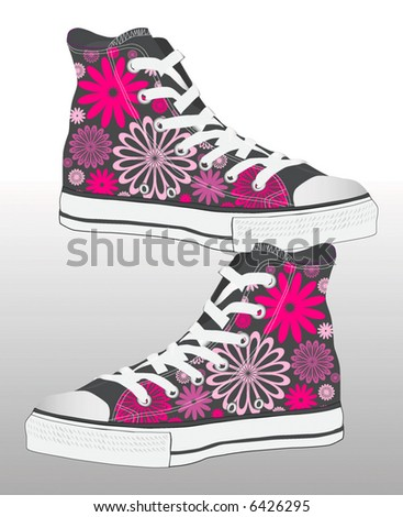 abstract retro vector sneaker shoe design with texture of flowers