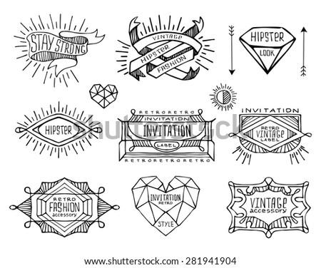 Abstract  retro vintage design. Line labels, insignias, badges, frames, borders