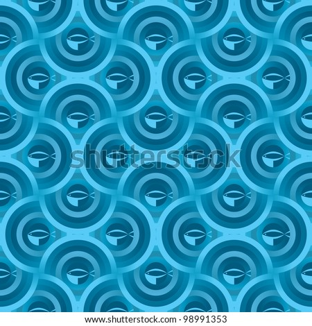 Abstract ripple and fish seamless vector blue background pattern