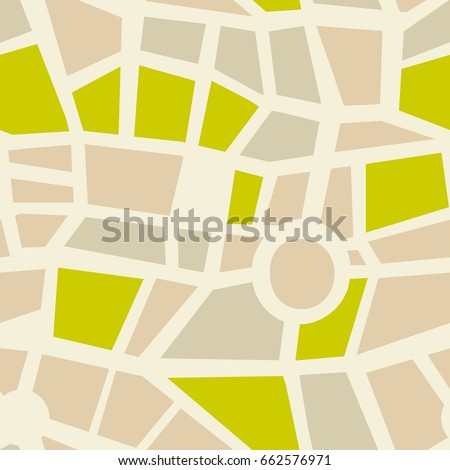 Abstract road seamless vector background. Green park and highway pattern. Wallpaper with map element. Backdrop for kids decoration