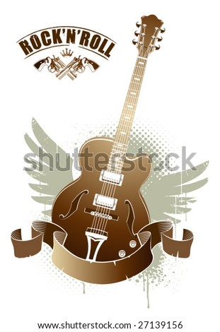 Abstract rock-n-roll image with two revolvers and guitar