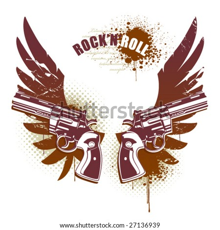 stock vector : Abstract rock-n-roll image with two revolvers, wings and. Abstract rock-n-roll image with two