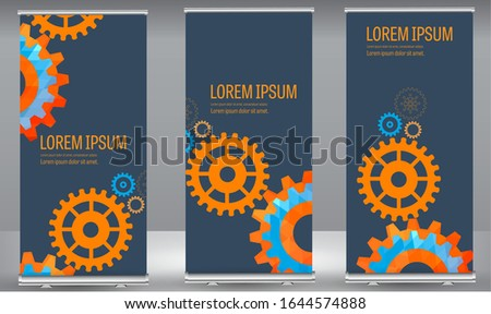 Abstract roll up techno gear background with geometric colorful gear wheels. Space for gear text. Vector gears modern mechanism industrial concept. Technology gears background. Gears Vector