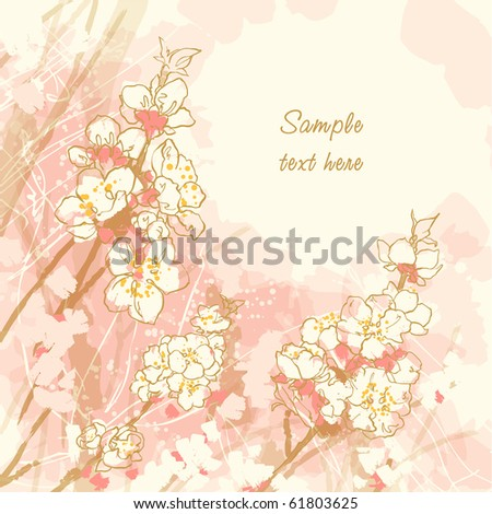 Abstract romantic vector background with cherry blossom