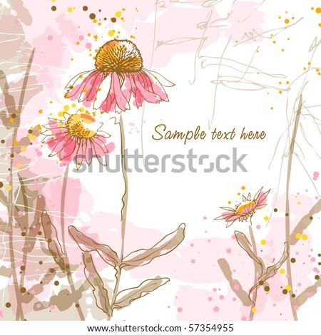 Abstract romantic vector background with three echinaceas.
