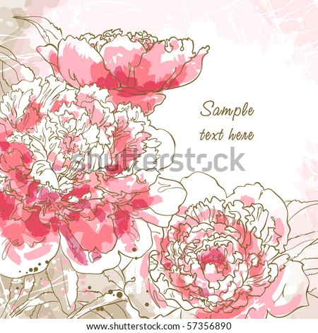 Abstract romantic vector background with three peony