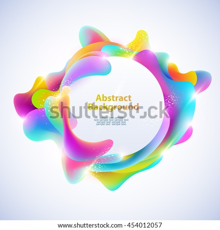 Abstract round banner. Plastic colorful shapes.