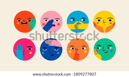 Abstract Round comic Faces with various Emotions and hand gestures. Different bright colorful characters. Cartoon style. Flat design. Hand drawn trendy Vector illustrations. Every face is isolated