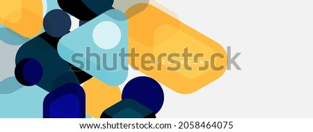 Abstract round geometric shapes and circles background. Trendy techno business template for wallpaper, banner, background or landing