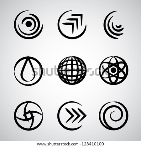 Abstract round icons, simple symbols vector set.