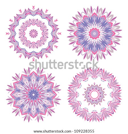 Abstract round ornamental pattern in purple and pink colors