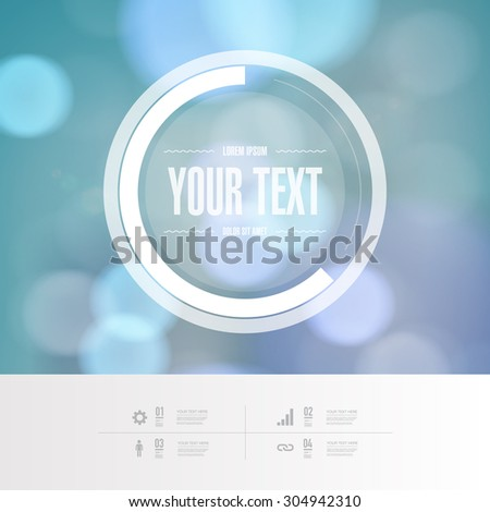 Abstract round text box design with beautiful blue bokeh lights background EPS 10 stock vector illustration