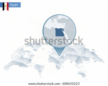 Abstract rounded World Map with pinned detailed Egypt map. Map and flag of Egypt. Vector Illustration.