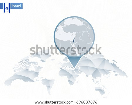 Abstract rounded World Map with pinned detailed Israel map. Vector Illustration.