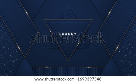 Abstract royal blue luxury background with golden royal shiny borders. Vector geometric illustration, elegant seamless pattern. Used for premium royal party. Luxury poster BG template and decoration.