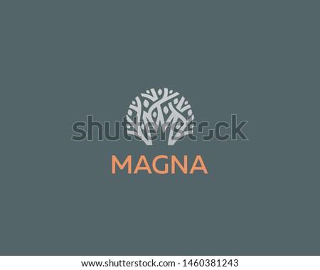 Abstract royal tree vector logo icon. Park nature crown logotype. ストックフォト ©