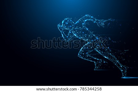 Abstract running man form lines and triangles, point connecting network on blue background. Illustration vector