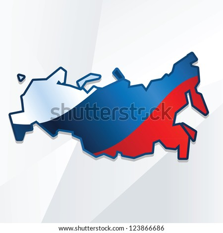 abstract russia map with flag