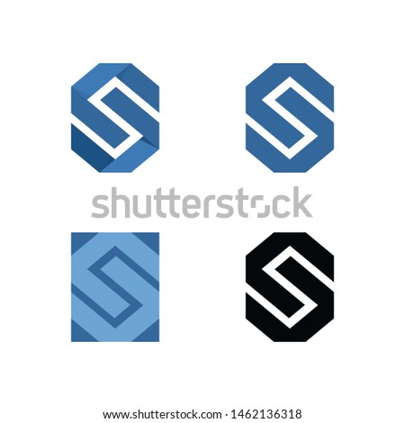 abstract s letter hexagon logo