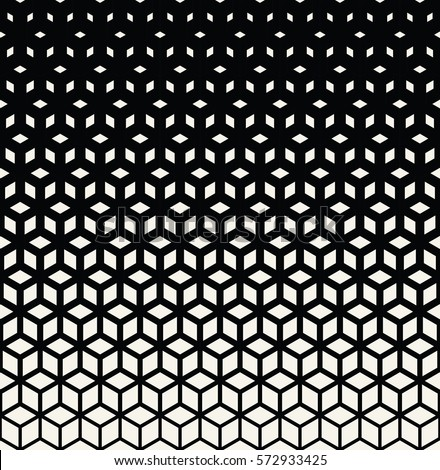 Abstract sacred geometry black and white grid halftone cubes pattern