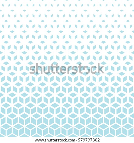 Abstract sacred geometry blue grid halftone cubes pattern