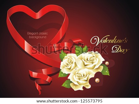 Abstract Saint Valentine's Day background with hearts. Classical congratulation card. Vector frame with Place for your text. - stock vector