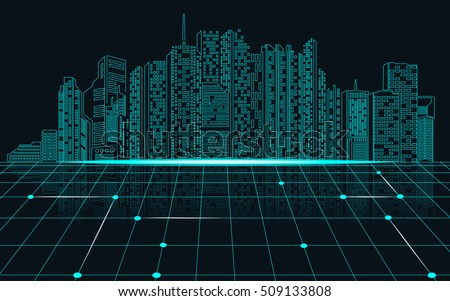 abstract science background, abstract technology background; digital landscape; digital building in matrix style; city of bule light