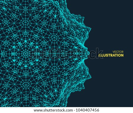 Abstract science or technology background. Graphic design. Network illustration with particle. 3D grid surface. Can be used for wallpaper, presentation, banner and cover.