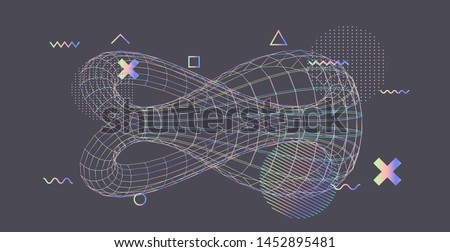 Abstract scientific background with 3d mirorred klein bottle wireframe,  example of a non-orientable surface in topology (branch of mathematics). Stockfoto ©