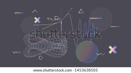 Abstract scientific background with 3d shapes of klein bottle and glitched geometric figures. Cyberpunk style vector illustration.