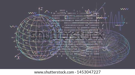 Abstract scientific background with 3d shapes of tori (toroid or torus), physics equations and glitched geometric figures. Vector illustration of a black chalkboard, vaporwave/ synthwave style.