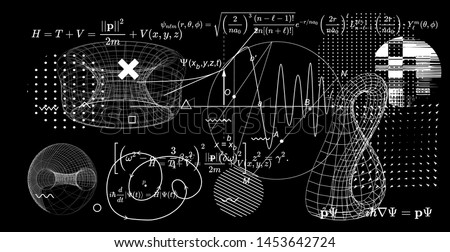 Abstract scientific background with fundamental Quantum Mechanics formulas: Schrodinger (Schroedinger) equation, ect. Blackboard with formulas,   graph of a function, 3d klein bottle and torus.