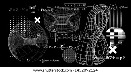Abstract scientific background with fundamental Quantum Mechanics formulas: Schrodinger equation,  quantum field theory, ect. Vector illustration of a black chalkboard with formulas and klein bottle.