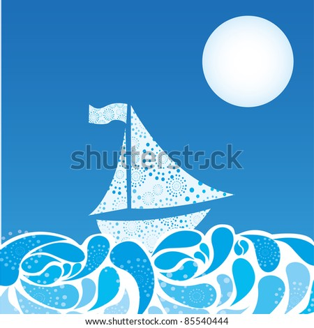 abstract sea and boat over sky night background. vector
