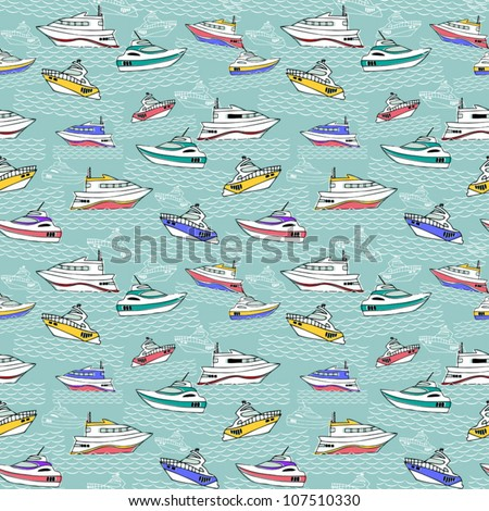 Abstract sea background, colorful fashion seamless pattern, blue vector wallpaper, creative retro fabric, fantasy wrapping - summer, maritime theme for design