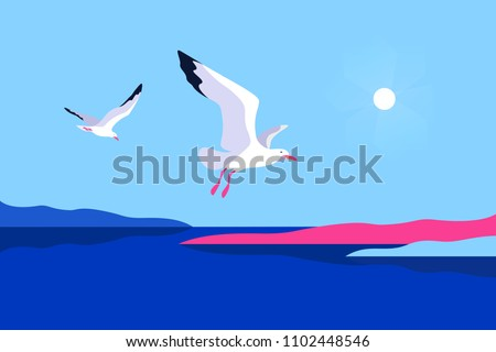 Abstract sea background with gulls. Sea coast, sky, sun, gulls. Vector illustration