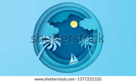 Abstract sea view with a floating sailing boat in the sea. Sea view in paper layer cut. paper cut and craft style. vector, illustration.