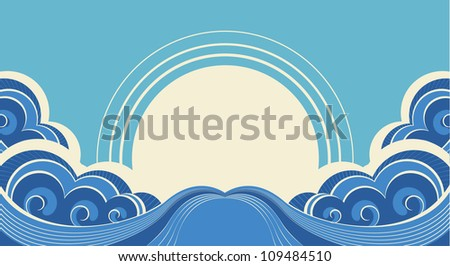 Abstract sea waves. Vector illustration of sea landscape background