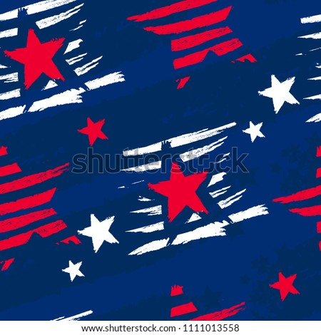 Abstract seamless American pattern. Usa stars repeated backdrop. Independence day. Grungy textured wallpaper.