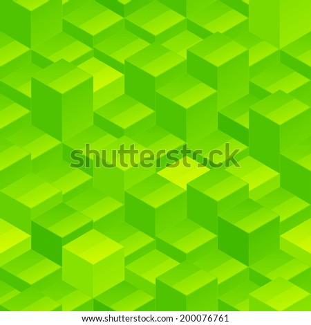Abstract seamless background vector pattern texture made of green glossy blocks