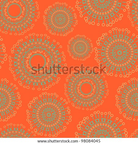 Abstract Seamless Background with Circles on Bright  Orange Backdrop. Vector Illustration