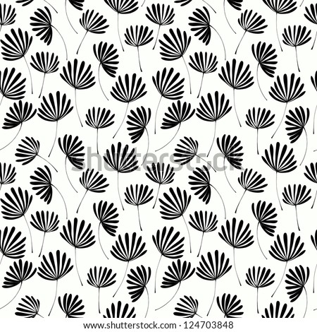 Abstract seamless black and white floral texture. Template for design and decoration