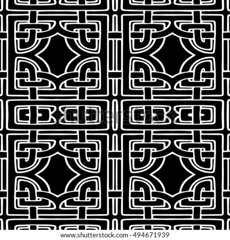 Abstract seamless black and white pattern - vector illustration  #494671939