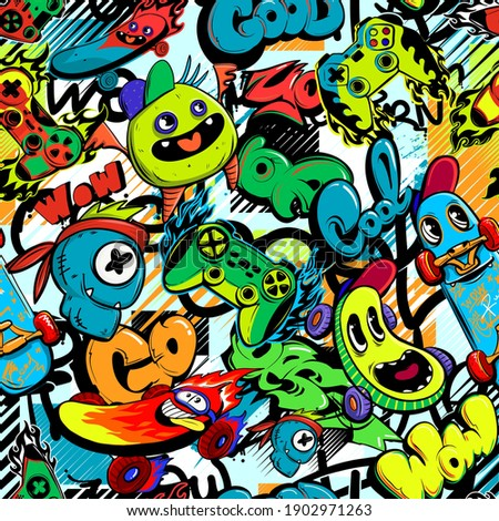 Abstract seamless cartoon pattern for kids, teenagers, fashion textile, clothes, wrapping paper. Repeated print with monsters doodle characters, graffiti text, gamepad, skateboard.