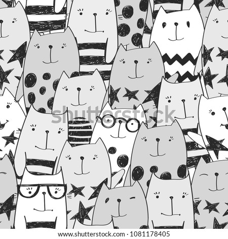 abstract seamless cats pattern
