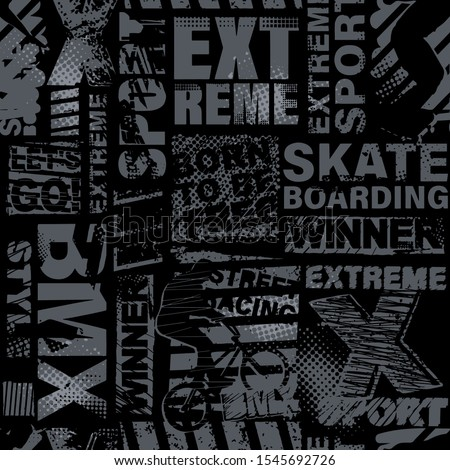 Abstract seamless chaotic pattern with urban geometric elements. Grunge extreme texture background. Wallpaper for boys. Fashion sport style ストックフォト ©