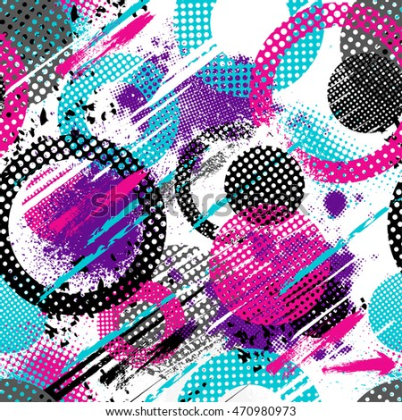 Abstract seamless chaotic pattern with urban geometric elements, scuffed, drops, spots, sprays. Grunge neon texture background. Drive modern creative wallpaper for guys.